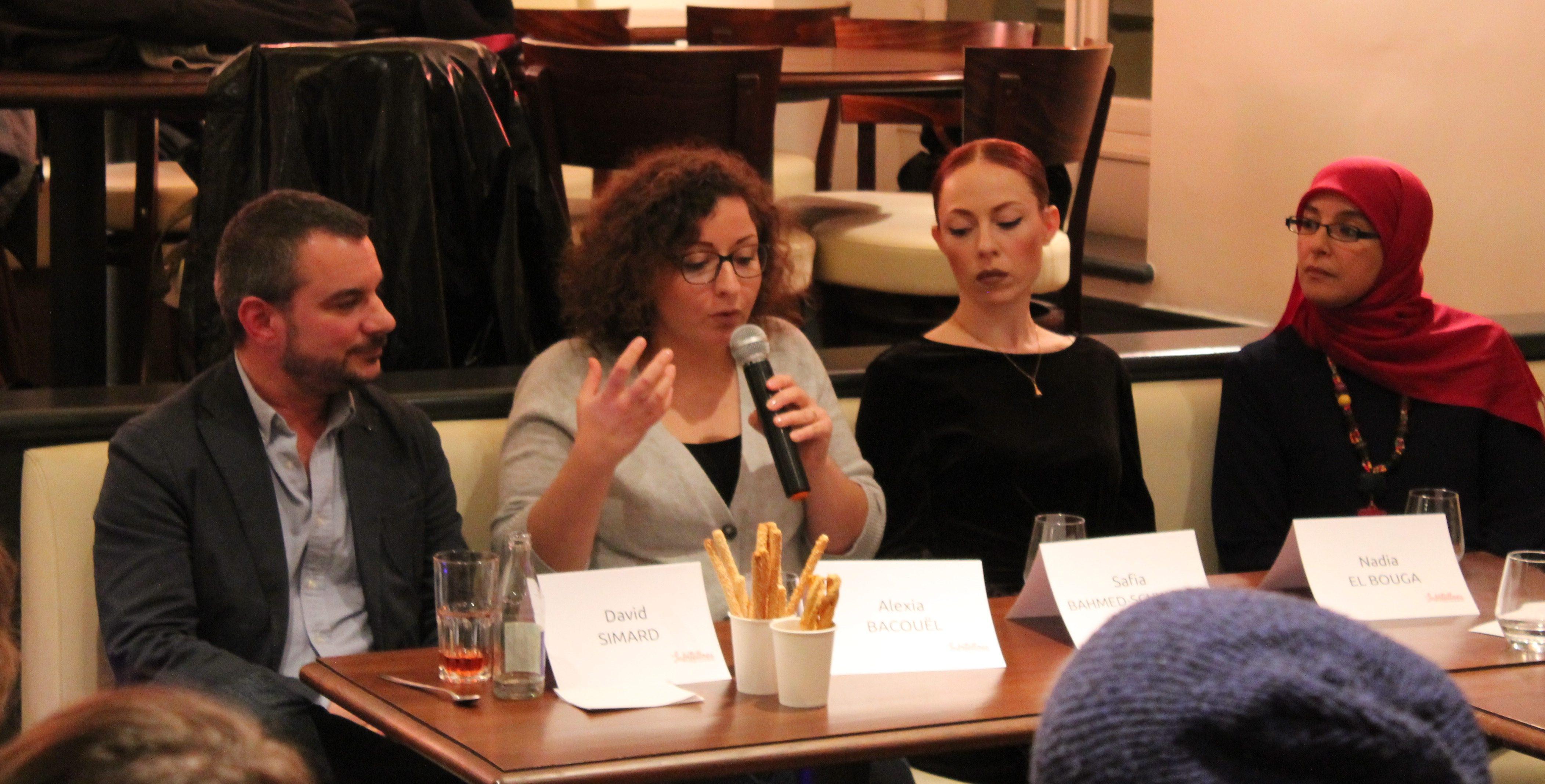 De gauche à droite: David Simard, Alexia Bacouël, Safia Bahmed Schwartz et Nadia El Bouga