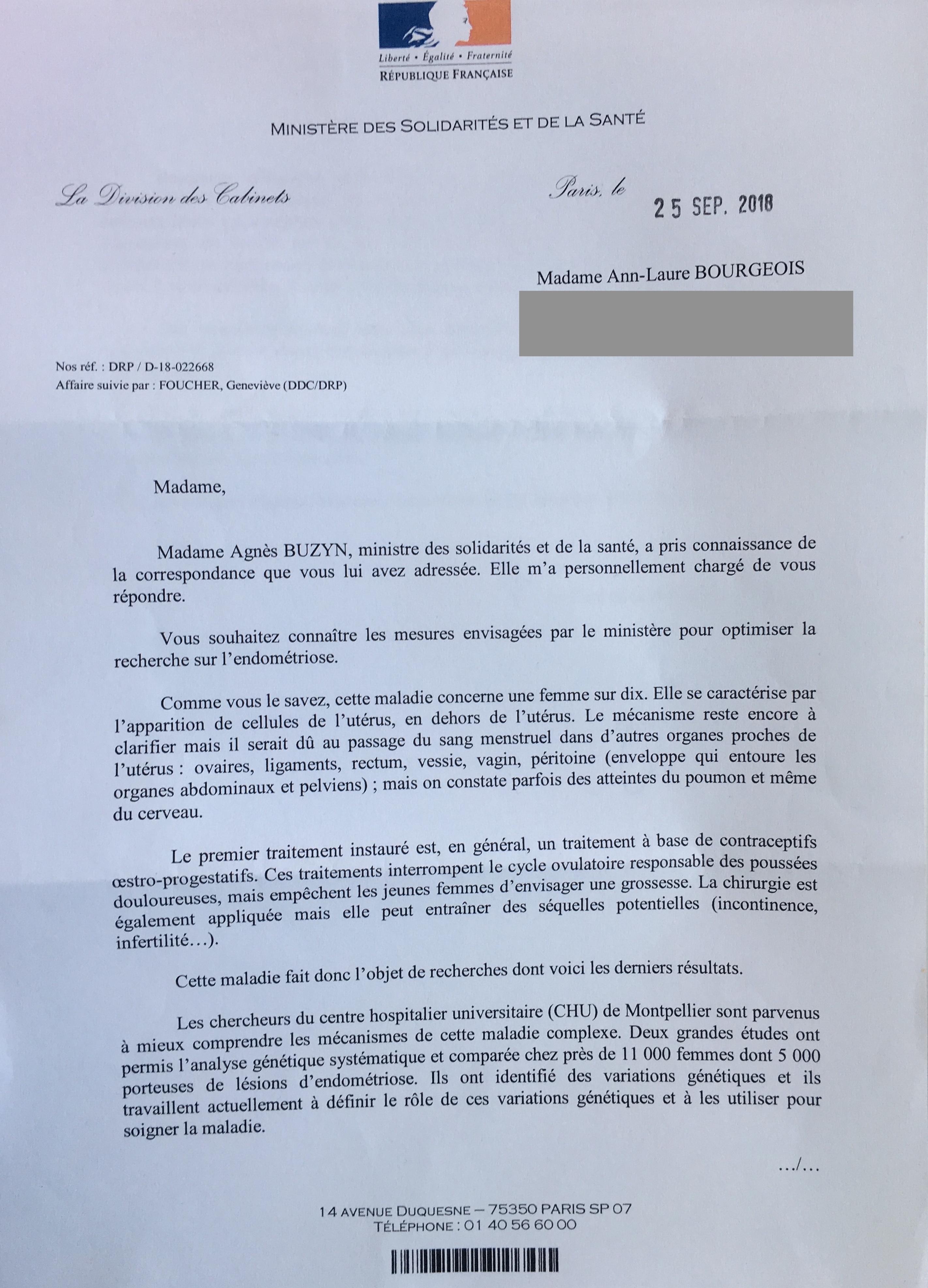 Lettre endométriose reçue par Les Intelloes du Ministère de la Santé